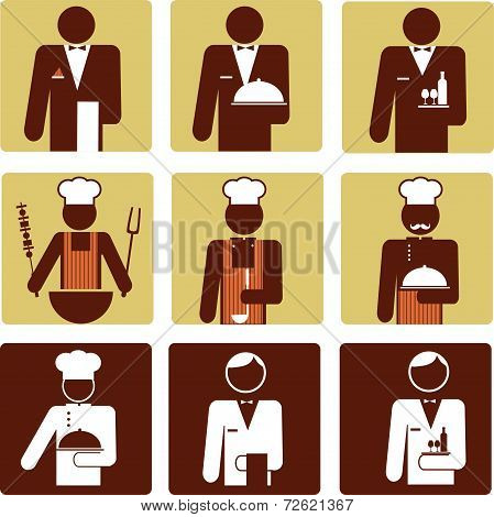 nine chef and waiter icons