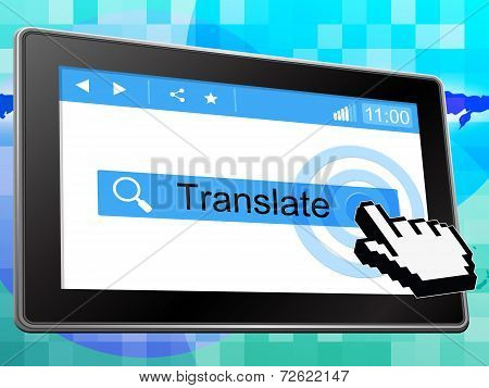 Online Translate Represents Web Site And Internet