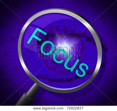Focus Magnifier Shows Magnification Attention And Focused