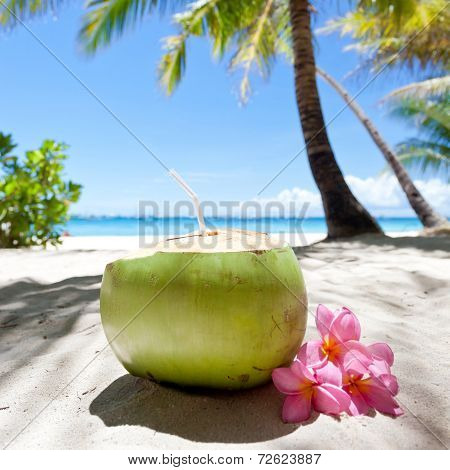 Tropical Fresh Cocktail On White Beach