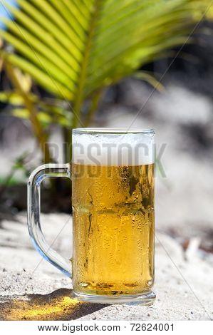 Glasses Of Beer On Beach