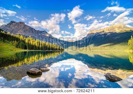 Mountain Range And Water Reflection, Emerald Lake, Rocky Mountains