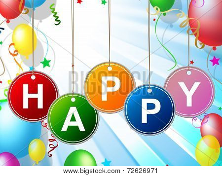 Happy Fun Represents Cheerful Positive And Jubilant