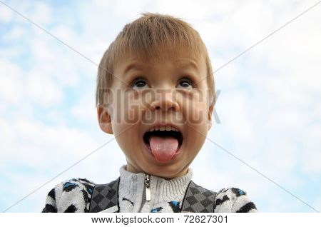Boy With Tongue Hanging Out Screaming
