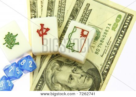 Chinese games of mahjong with US dollars.