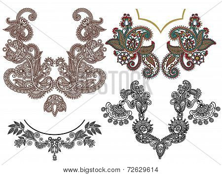 collection of ornamental floral neckline embroidery fashion