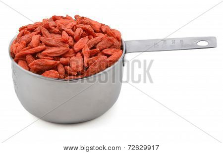 Red Goji Berries In A Cup Measure