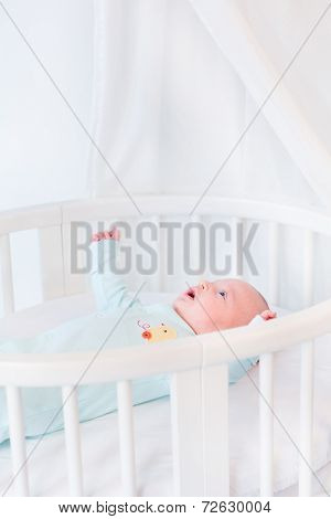 Cute Newborn Baby Boy In A White Round Bed With Canopy