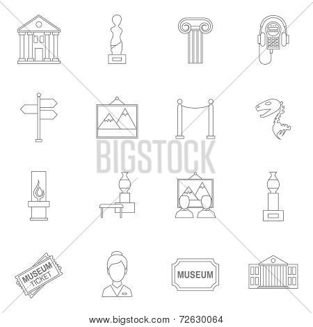 Museum icons outline
