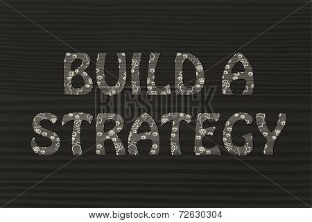 Build A Strategy Writing With Glowing Gearwheels Pattern