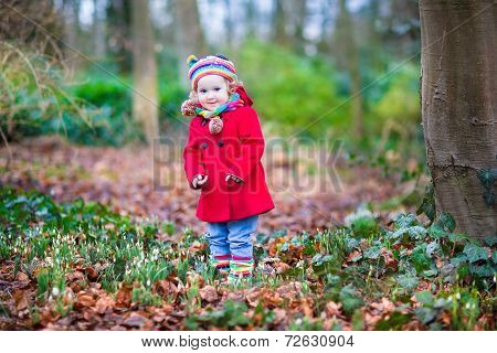 Adorable Toddler Girl Playing With First Snowdrop Flowers In A Beautiful Spring Park