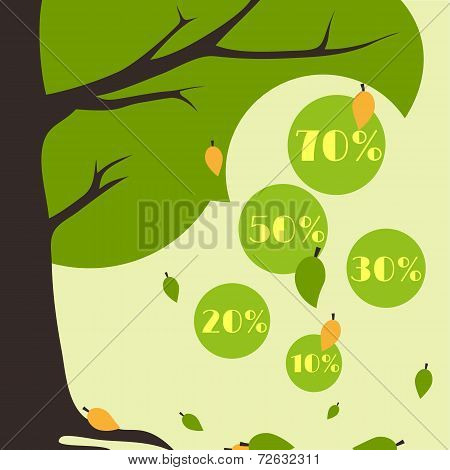 Infographics Autumn Sale Card Falling Leaves From A Tree