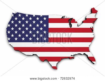 Usa Flag Map 3D Shape