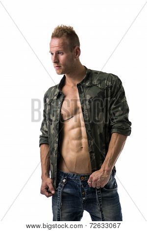 Fit Male Model Wearing Camouflage Jacket On Naked Chest