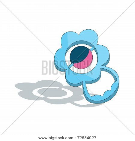Blue Baby Rattle Isolated On White