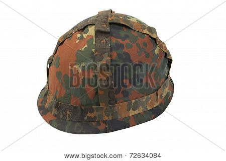 German Army Helmet With Camouflage Cover Isolated On White Background