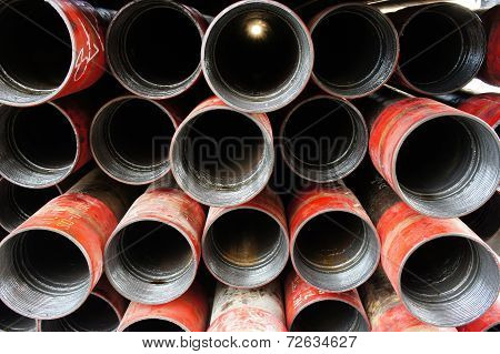 Stack Of Oil Well Intemediate Casing Bundles At Box End Of Casing