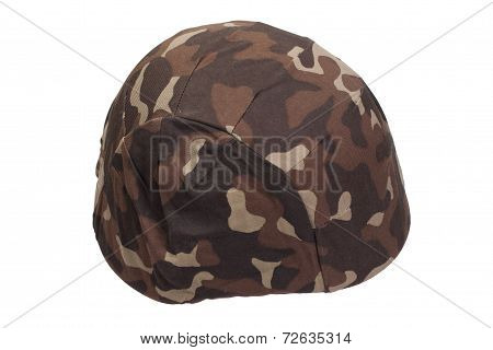 Ukraine Army Kevlar Helmet With Camouflaged Cover Isolated On White