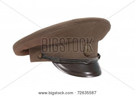 Soviet Army Officer's Field Cap Isolated On White Background