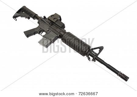 Carbine With Optical Gunsight Isolated On A White Background
