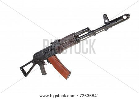 Kalashnikov Paratrooper Aks74 Assault Rifle Isolated On A White Background