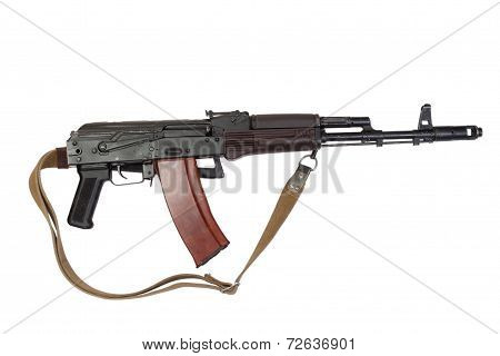 Kalashnikov Airborne Assault Rifle Ak74 Isolated On A White Background