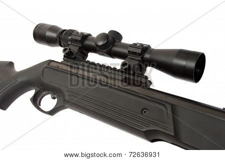 Pneumatic Air Rifle With Optical Sight Isolated On White Background