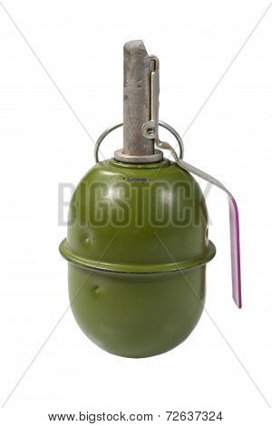 Green Hand Grenade Isolated On A White Background