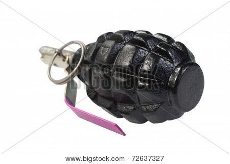 Black Pineapple Hand Grenade Isolated On A White Background