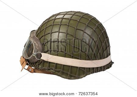 Soviet Army Mechanized Infantry Helmet With Goggles Isolated On White