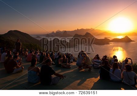 People Watching Sunset in Rio de Janeiro from Niteroi