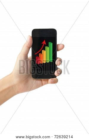 Success growth chart on touch screen smart phone.