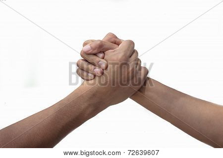 hands clasped arm wrestling,
