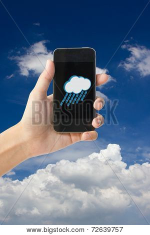 Rain and cloudy icon on touch screen mobile phone, weather forecast concept.