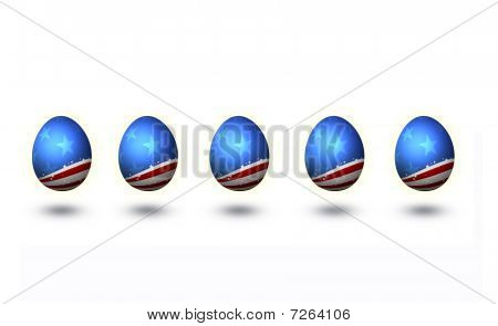USA flag pattern Easter Eggs isolated on white with digital work