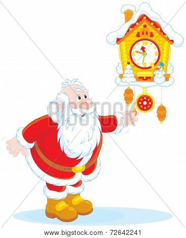 Santa Claus winds a cuckoo-clock