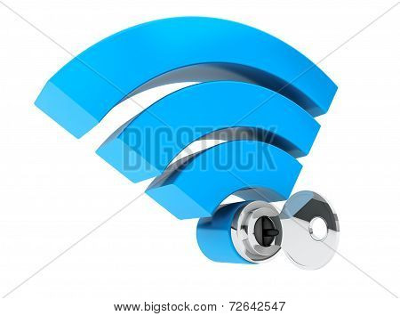 Wifi Internet Security Concept. 3D Symbol Wifi And Key