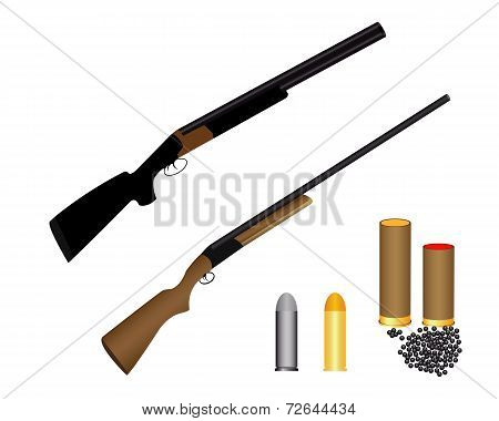 Two Guns For Hunting Ammunition And Shot