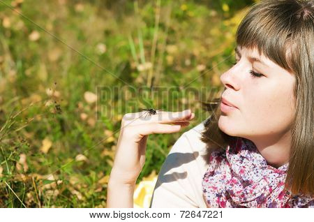 Girl And Dragonfly