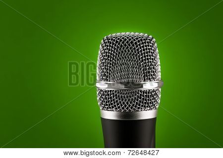 Wireless Microphone On Green Background