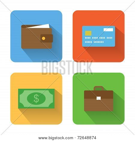 Flat Money Icons. Vector Illustration