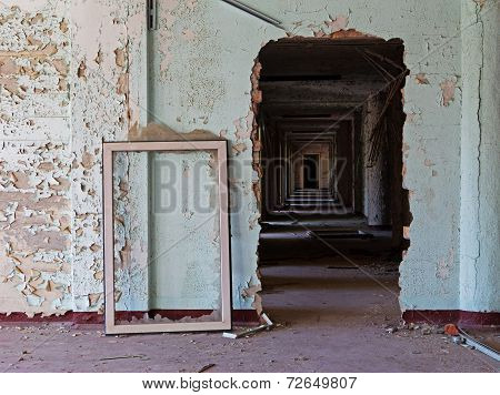 Old Abandoned Room Of  Building And Window Frame