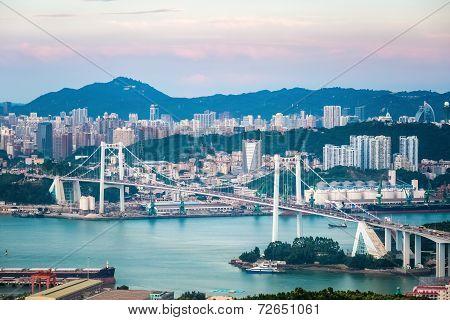 Xiamen Haicang Bridge At Dusk
