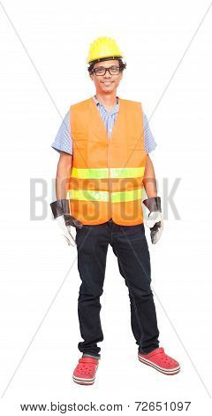 Portrait Of Asian Worker Man Wearing Safety Jacket Hard Hat And Leather Hand Glove Protection Isolat