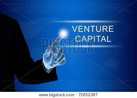Business Hand Clicking Venture Capital Button On Touch Screen