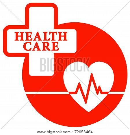 Red Health Care Icon With Heart