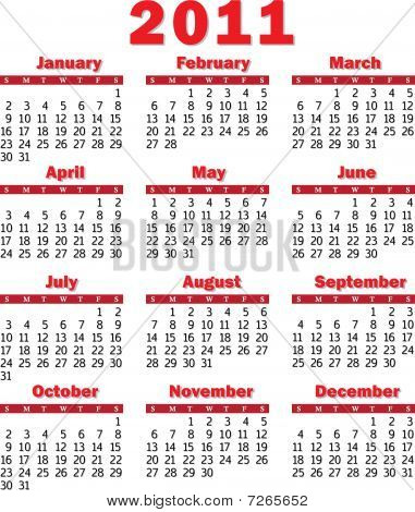2011 calendar red. Stock vector : calendar 2011 red