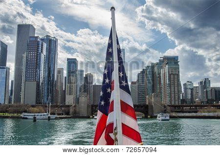 American Flag Against Chicago Skyline