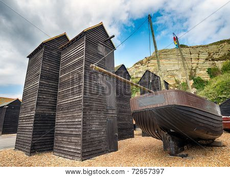Fisherman's Net Huts At Hastings