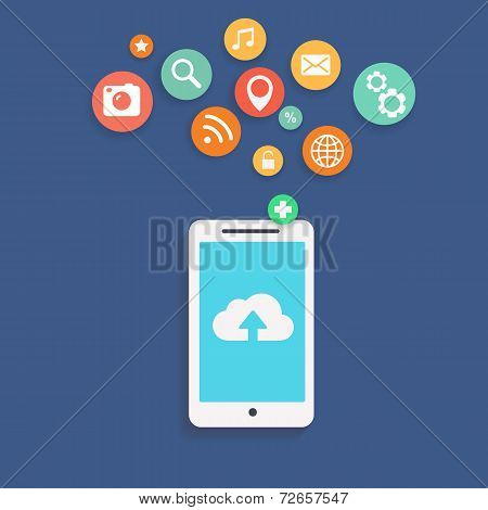 Vector illustration showing the use of cloud computing  storage